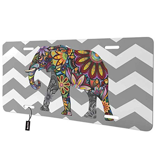 Beabes Elephant Front License Plate Cover,Gray and White Chevron Pattern Zigzag Funny Animal Decorative License Plates for Front of Car Vanity Plate for Men Women Alumium 6x12 Inch