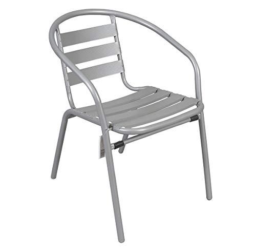 Silla Aluminio. Ideal para TU JARDÍN O TERRAZA. (Ancho 60 x Fondo 54 x Alto 78 cm) (Gris)