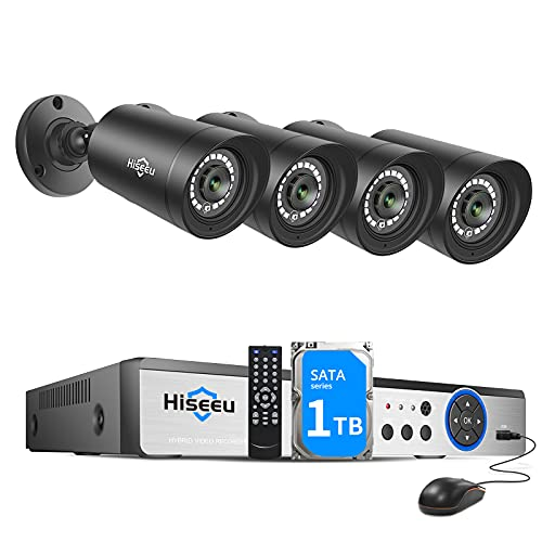 H.265+ Hiseeu Wired Security Camera System, 8CH 1080P Surveillance DVR with 4Pcs 1920TVL Indoor Outdoor Security Cameras, IP66 Waterproof, Human Detection & APP Alert, 24 7 Record,1TB Hard Drive