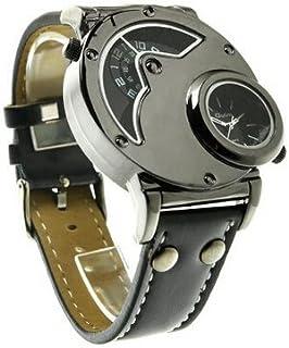 OGYA Men's Quartz Cool Russian Aviator Pilot Army Military Dual Time Black Leather Band Sport Watch