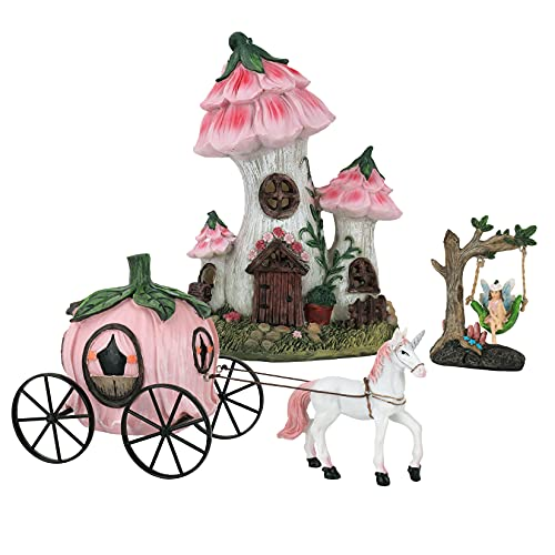 LA JOLIE MUSE Resin Fairy Garden - Miniature Floral Roof Cottage with Solar LED Lights  Fairy House Figurine Set of 3 with Pumpkin Carriage  Outdoor Decor for Patio Yard Lawn