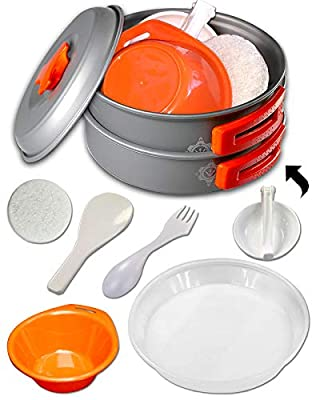 Camping Cookware Kits - BPA-Free Non-Stick Anodized Aluminum Mess Kits - Complete Lightweight Mini Folding Pot Kits with Utensils for Camping Hiking Backpacking and Survival Cooking (10 Piece Set)