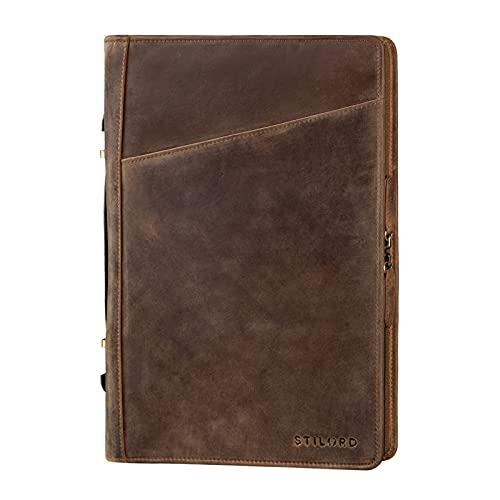 STILORD 'Kelton' Organizador Documentos A4 de Cuero Portafolio Maletin Portadocumentos Carpeta de Conferencias Portafolios de Piel, Color:marrón - Medio