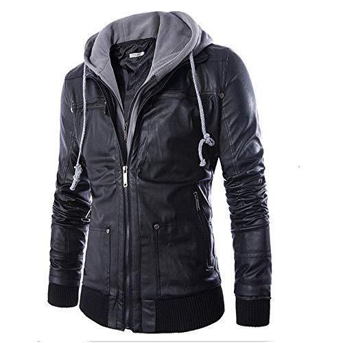 URSING Herren Lederjacke Herbstjacke Winterjacke Biker Motorrad Zipper Outwear Warmer Mantel Wärmejacke Übergangsjacke Kapuzenjacke mit Reißverschluss Streetwear