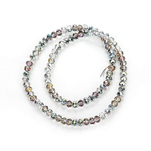 2 mm / 4 mm / 6 mm / 8 mm kristallen kralen, glasparels, facetgeslepen, voor het maken van sieraden, groen licht, 3 x 4 mm, 140 stuks