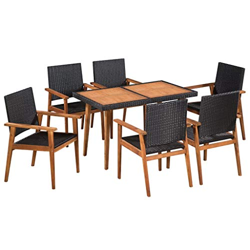 Tidyard 6 Seater Dining Table and Chairs | Outdoor Dining Set | Poly Rattan Garden Patio Furniture | Black and Brown