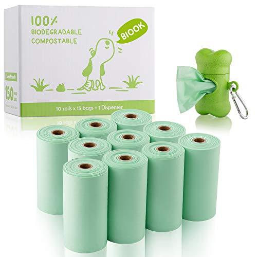 BIOOK Bolsas Caca Perro 100% Biodegradable con 1 Dispensador, Materiales Basados en PLA y Compostables Premium Ecológico, Fuertes, Resistente a Fugas, Sin Perfume, EN13432 y Ok Compost Certificación