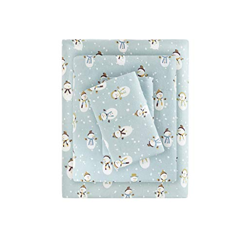True North by Sleep Philosophy Cozy Flannel Warm 100% Cotton Sheet - Novelty Print Animals Stars Cute Ultra Soft Cold Weather Bedding Set, Twin, Blue...