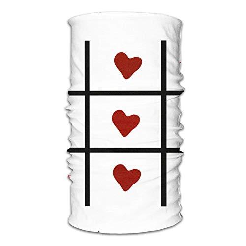 Tic Tac Toe Love! Diadema para cuello, lavable, transpirable, resistente al viento, a prueba de rayos UV, para deportes al aire libre
