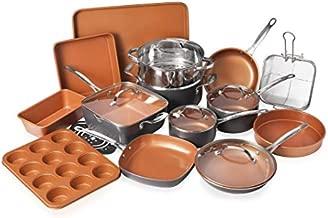 Gotham Steel 20 Piece Pots & Pans Set Complete Kitchen Cookware + Bakeware Set | Nonstick Ceramic Copper Coating – Frying Pans, Skillets, Stock Pots, Deep Square Fry Basket Cookie Sheet & Baking Pans