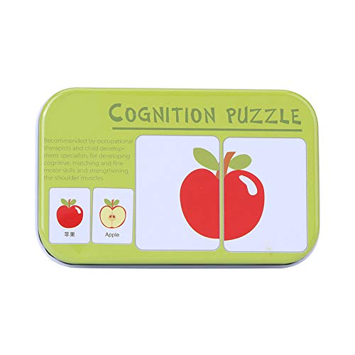 Tarjetas de aprendizaje para bebés, 16 pares de rompecabezas a juego Tarjetas de cognición Juguete de inteligencia para niños pequeños(Frutas)