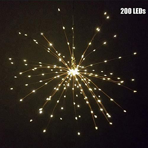 MZY1188 Outdoor Firework String Lights,120Led 200 Led Solar Lamp Starburst String Light Copper Wire Solar Panel Powered DIY Firework Xmas Hanging Lamp Wedding Light