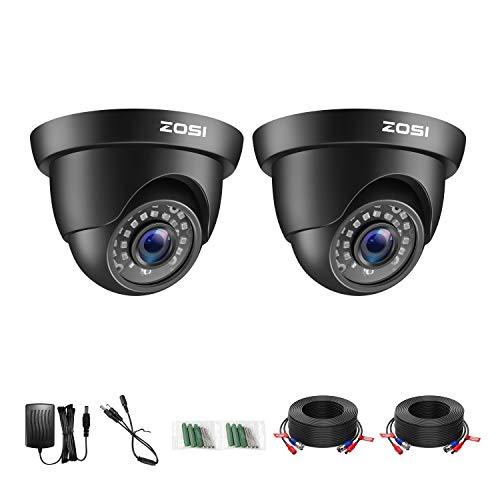 ZOSI 1080P Cámara de Vigilancia Exterior para Kit de Cámara de Seguridad DVR, 20m Visión Nocturna, 2 Pack Negro