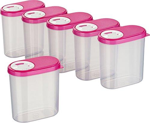 MiraHome Gewürzdosen Schüttdosen Streudosen Vorratsdosen 0,30l 6er Set pink Austrian Quality