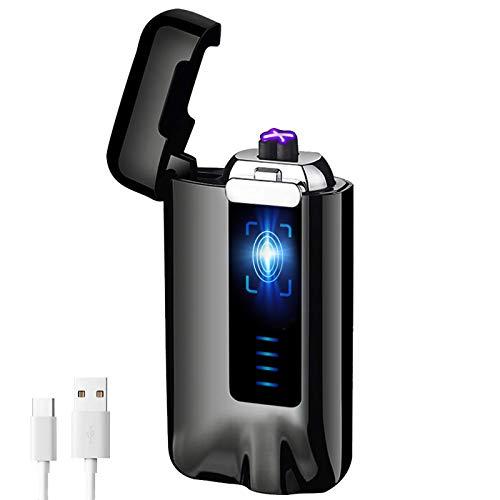 KIMILAR Elektro Feuerzeug USB, Lichtbogen Feuerzeug Berührungssensor Dual Aufladbar Winddicht Flammenloser mit USB-Kabel für Küche Grill Kerzen Zigaretten (Geschenkverpackung) (Schwarz)