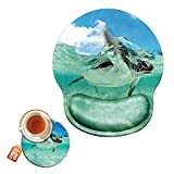 Turtle Mouse Pad with Wrist Support Gel Ergonomic Gaming Mousepad with Wrist Rest for Laptop Computer Home Office Working Ocean Mouse Mat + A Cute Coffee Pad