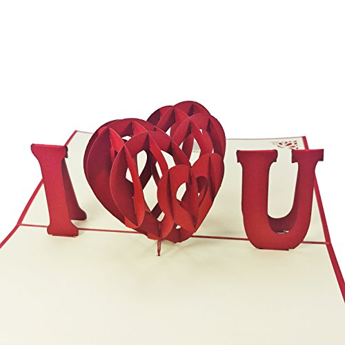 I Heart You - WOW 3D Pop Up Card - For Love, Valentine, Birthday Card, Wedding, Anniversary, Fathers, Mothers Day - Fold Flat, Envelope Included
