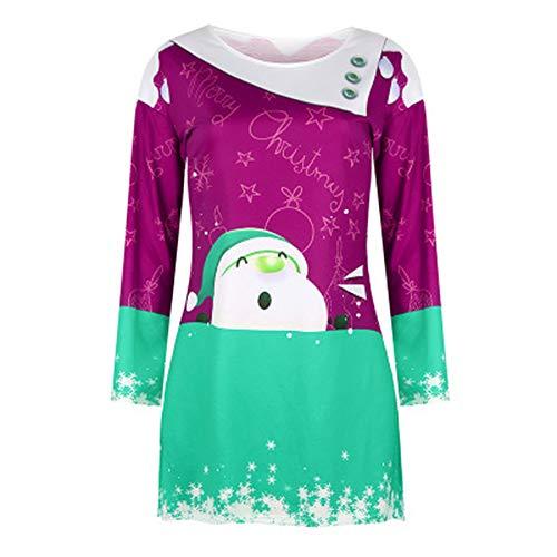 weishenghulian Vestido De Navidad para Mujer Fiesta De Navidad con Estampado De Navidad Vestido Largo Y Largo De Navidad Feo Adecuado para Fiestas De Halloween
