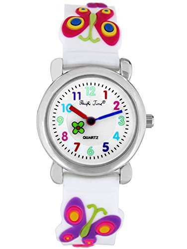 Pacific Time Kinder-Armbanduhr Kinderuhr Mädchenuhr Schmetterling Lernuhr Analog Uhr Quarz violett rosa weiss 21975