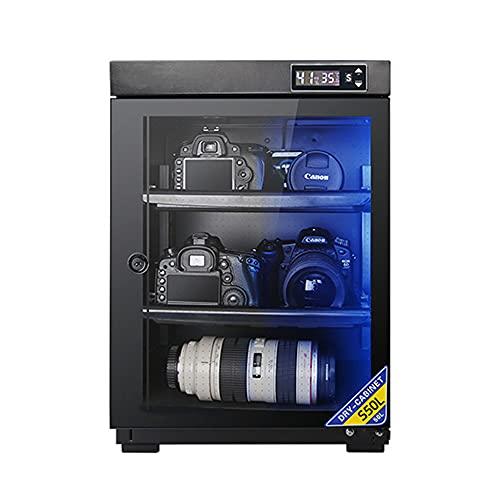 Armadio di asciugatura: armadio di deumidificazione per telecamera da 50 litri con lampada, ripiano regolabile, scatola elettronica a prova di umidità con obiettivo per telecamera domestica/Bl