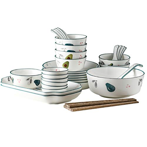 WYBFZTT-188 32-piece Ceramic Tableware Set, Dish Set, Creative Tableware Soup Bowl and Plate