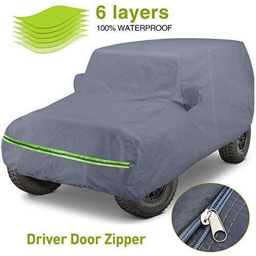 KAKIT 6 Layers Covers for Jeep 4 Door 2007-2020 Customer Fit Waterproof All Cotton Inside with Windproof Strap & Driver Door Zipper
