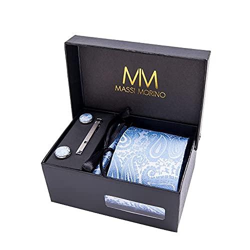 Massi Morino ® Herren Krawatte (Box Set) inkl. Einstecktuch + Manschettenknöpfe + Krawattennadel mit Geschenkbox (Paisley Hellblau)