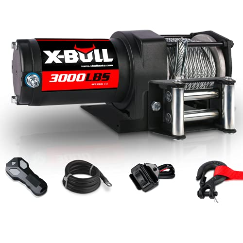 X-BULL 12V 3000LBS Steel Wire Electric Winch for Towing ATV/UTV Off Road with Mounting Bracket Wireless Remote
