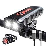 Luzde Bicicleta Bike Light Set Bicycle Lantern USB Cargable lámpara de Ciclismo Impermeable MTB Faro LED luz Delantera Trasera Red