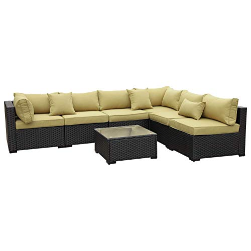 VALITA Outdoor PE Wicker Furniture Set 7 Pieces Patio Black Rattan Sectional Conversation Sofa Chair with Olive Green Cushions