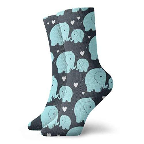 Chaussettes habillées à Motifs Amusants colorés, Belles Chaussettes en Coton pour bébé éléphant de mère pour Hommes Femmes 30 cm