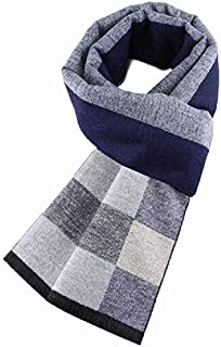 Autumn and Winter Men's Scarves Warm Fashion Wild Plaid Scarf,Blue yppss (Color : Blue, Size : -)