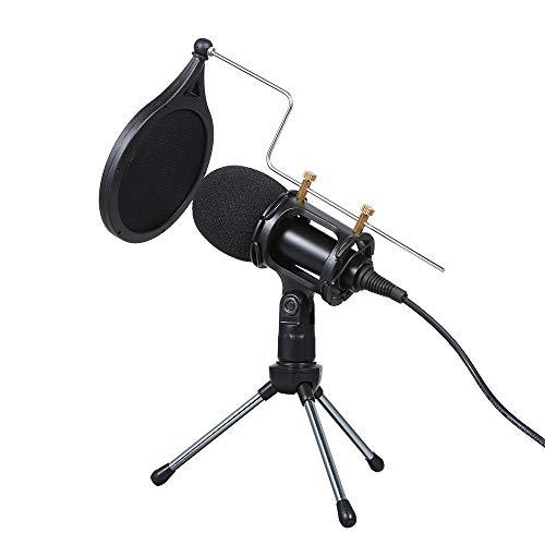 Kshzmoto Micrófono de condensador con cable de audio de 3,5 mm, micrófono de estudio, grabación de voz, KTV, karaoke con soporte para teléfono de PC
