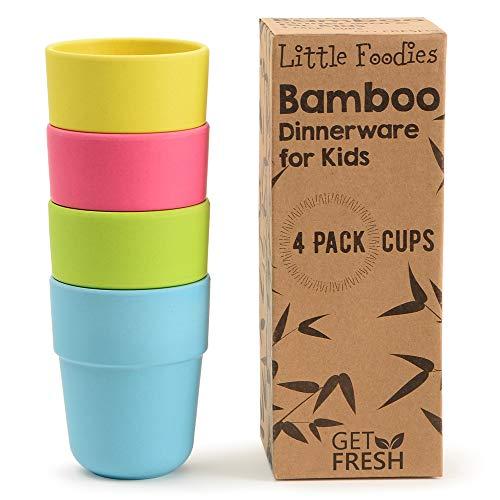 GET FRESH Bicchieri per Bambini in Bambù - 4/pz Set da cucina in Bambù - Stoviglie Tazze per Bambini in Bambù Fibra - Servizi da Tavola per Bambini in Bambù - Bamboo Kids Dinnerware Cups Set