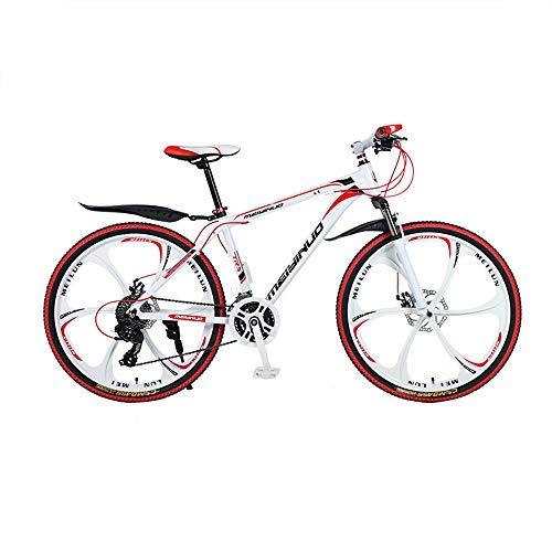 Bicicletas Montaña 26 Pulgadas, Mountain Bike, Bicicleta De Montaña Rígida De 21/24 27 Velocidades, Cuadro De Aluminio, Velocidad De Choque Bicicleta De Montaña, 6 Ruedas De Corte, Rojo,21 speed