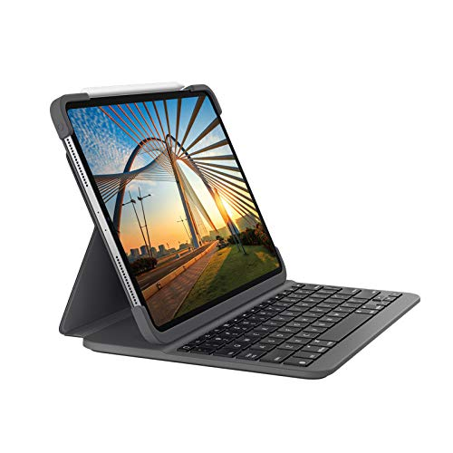 Logitech SLIM FOLIO PRO with backlight, bluetooth keyboard case, for iPad Pro 12.9 inch (3rd and 4). generation, German QWERTZ Layout