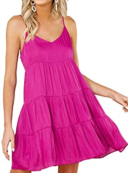 KIRUNDO 2021 Summer Women's Spaghetti Straps Mini Dress Sleeveless Solid Color V-Neck Backless Casual Swing Skater Pleated Dress  Rose Red Large