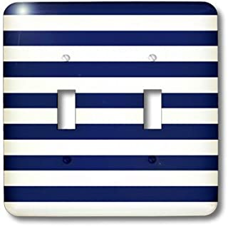 3dRose lsp_24691_2 Navy Blue and White Stripes Toggle Switch