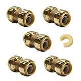 (Pack of 5) EFIELD Höger 1/2 Inch Straight Coupling Push-Fit Fitting to Connect Pex, Copper, CPVC, Free Clip Tool,No-Lead Brass (5)
