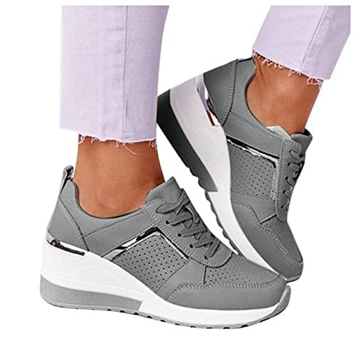 Winging Zapatillas informales de plataforma transpirable con punta redonda y cordones verano para mujer deporte casuales de deporte de cuña De Color sólido de tlla grande 37-42EU
