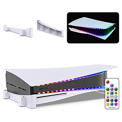 Horizontaler Ständer und dekorativer LED-Lichtstreifen, kompatibel mit PS5-Konsole, Zubehör Basis Ständer Halter und flexible Band Lichter Streifen Kit für PS5 Konsole mit IR Fernbedienung