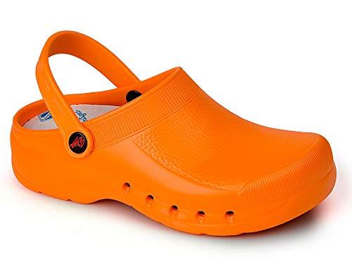 baratos y buenos EVA color naranja talla 38, zueco de trabajo y hostelería certificado CE unisex EN… calidad