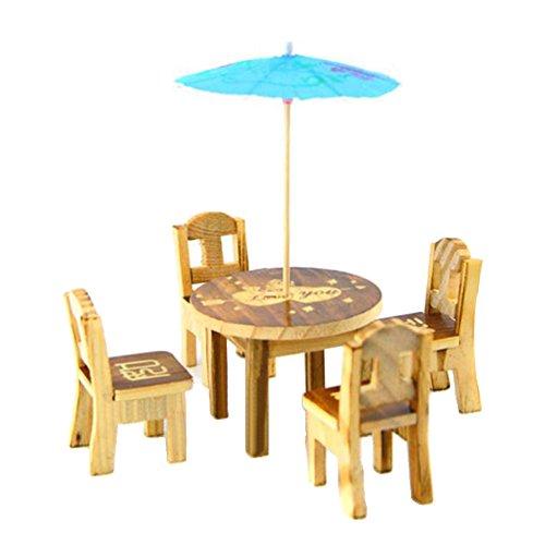 Pu Ran Miniatur-Gartenmöbel-Set, Holz, für Feenhaus, Puppenhaus, mit Tisch, Stühlen, Sonnenschirm, 6-teilig Random Color and Pattern