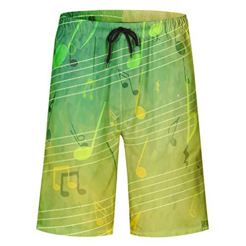 Charzee Herren Jungen Green Music Notes Printed Boardshorts Classics Schnelltrocknend Vielfarbig Strand Kurz mit Taschen colouration Badehose Sport White 6XL