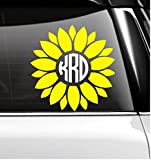 Yellow Sunflower Circle Block Font Monogram Decal