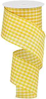 Primitive Gingham Check Wired Edge Ribbon, 10 Yards (Mustard, Ivory, 2.5