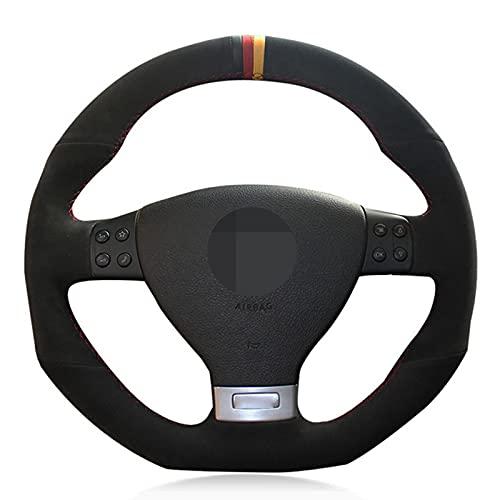 ESPTO Cubierta para el Volante para Volkswagen Golf 5 Mk5 GTI Golf 5 R32 Passat R GT 2005 Cubierta de Volante de Coche de Gamuza Negra Cosida a Mano