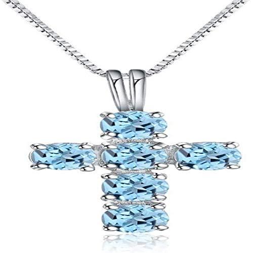 Topacio azul 925 plata esterlina piedras preciosas Cruz colgante collares para mujeres colgantes de piedras preciosas