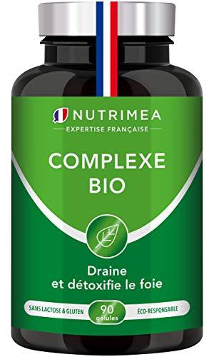 COMPLEXE BIO - Détox intestin, foie et colon 100% naturel BIO - Artichaut, Radis Noir, Curcuma - Elimination naturelle des toxines - Haut dosage - 90 gélules végétales - Nutrimea - Fabrication Française