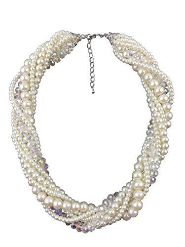 Rose パール 真珠 ロング ネックレス 7連 ゴージャス お洒落 デザイン アクセサリー 結婚式 パーティ 華やか ボリューム シンプルドレスにも